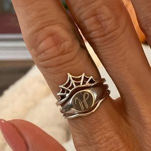 White gold curved stacking spider web ring